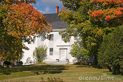 New England house in autumn