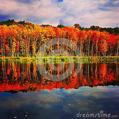 Free New England, Lake Basile During Fall Stock Photos - 47222803