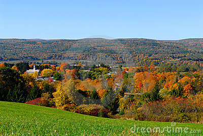 New England town in the fall