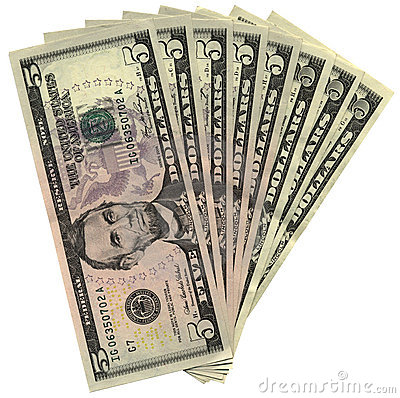 Free New Five Dollars Isolated, Savings Wealth, Pile Royalty Free Stock Images - 10451359