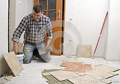 New floor tiles in hall.