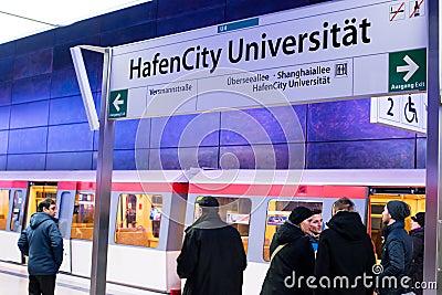 New Hafencity station in Hamburg Editorial Stock Photo