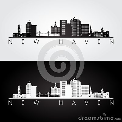 Free New Haven, USA Skyline And Landmarks Silhouette Stock Image - 128424731