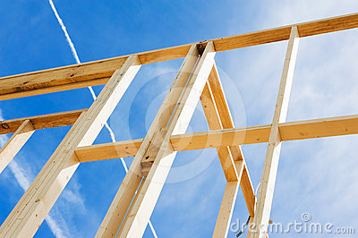 New home construction framing. Fragment.