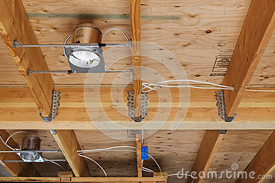 New home construction lights and ceiling, detail