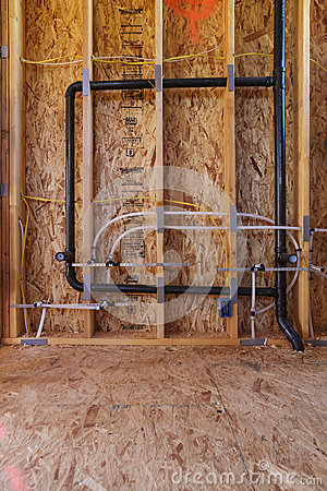 New home construction pipes and electrical, detail