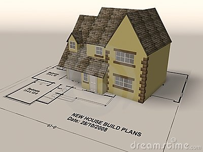 New home on a set of architect plans