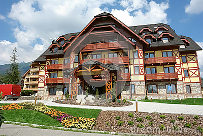 New hotel and flowers in Tatranska Lomnica. Editorial Stock Photo