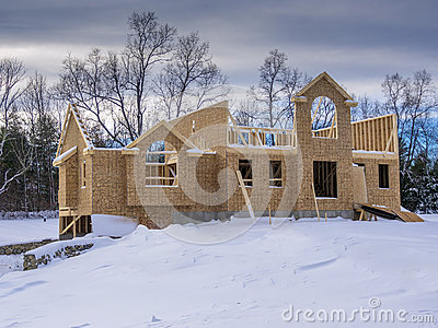 New house construction in winter