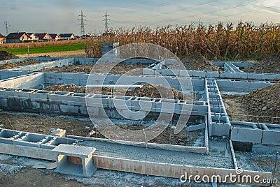 New House Foundation Construction Stock Photo Image