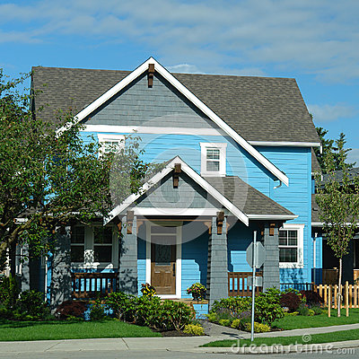 New House Home Exterior Bright Blue