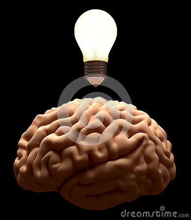 New idea. Brain light bulb concept.