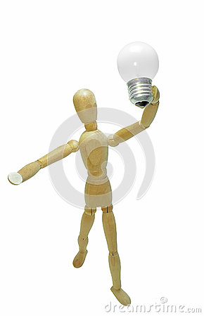 Free New Idea Concept. Man Wood Figure And Light Electrical Bulb. Royalty Free Stock Photography - 89341137