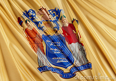 close up shot of wavy state flag of new jersey