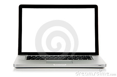 New laptop with white screen front view.