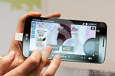 NEW LG FLEX, MOBILE WORLD CONGRESS 2014 Editorial Stock Photo