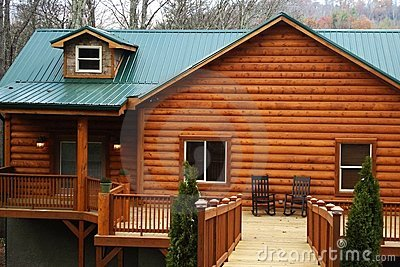 New Log Home With Large Deck