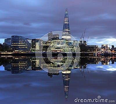 New London city hall at night