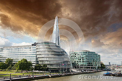New London city hall with Thames river, panoramic view from Towe