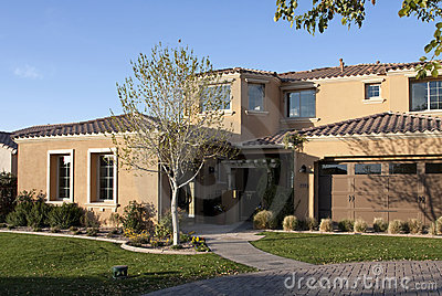 New luxury desert golf course home front entrance