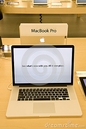 New MacBook Pro in Apple Store Editorial Stock Photo