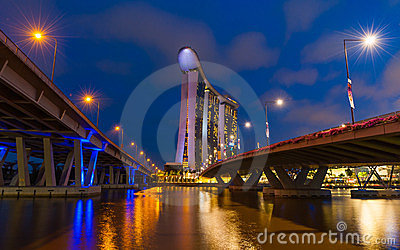 The new Marina Bay Sands resort and Helix Bridge Editorial Stock Image