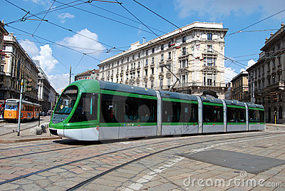 New model tram (tramcar, trolley) in Milan