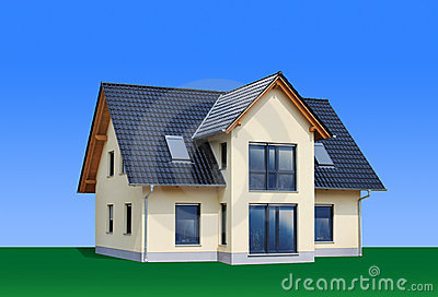 New, modern family house, isolated