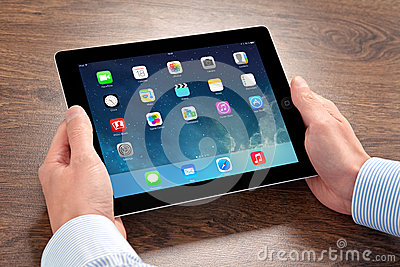 New operating system IOS 7 screen on iPad Apple Editorial Image
