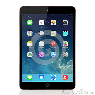 New operating system IOS 7 screen on iPad mini Apple Editorial Image