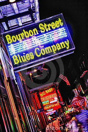 Free New Orleans Bourbon Street Blues Company Stock Photography - 22965822