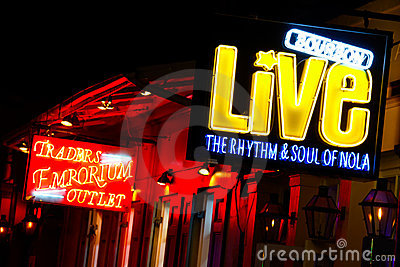New Orleans Bourbon Street Music Halls and Shops Editorial Photography