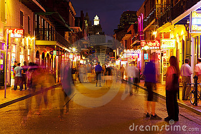 New Orleans, Bourbon Street at Night Editorial Stock Photo