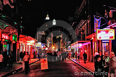 New Orleans Bourbon Street at Night Editorial Stock Photo