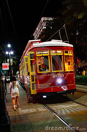 New Orleans Canal St. Street Car at Night Editorial Stock Image