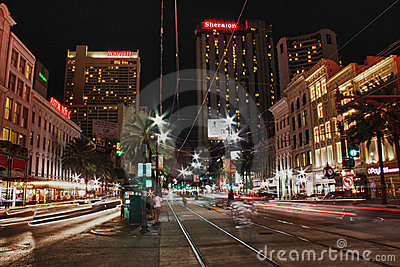 New Orleans Canal Street at Night Editorial Photo