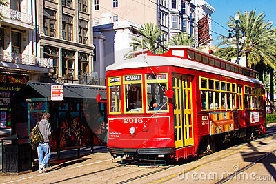 New Orleans Canal Street Street Car Stop Editorial Stock Image