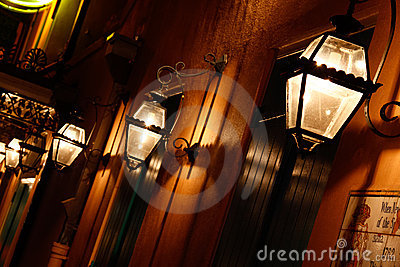 New Orleans French Quarter Gas Lights Editorial Stock Photo