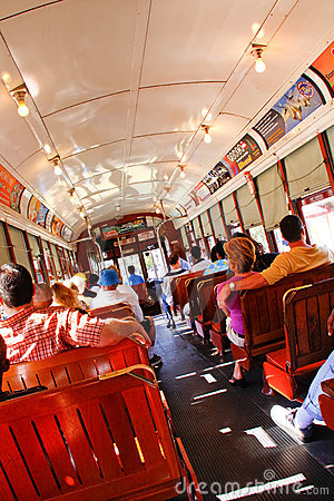 New Orleans Historic Street Car Riders Editorial Photography