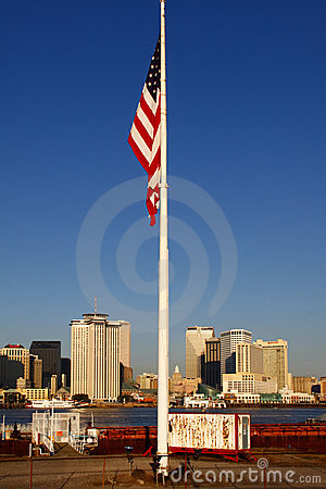 New Orleans - Morning Skyline American Flag Editorial Stock Image