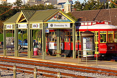 New Orleans Riverfront Street Car Stop Editorial Stock Photo