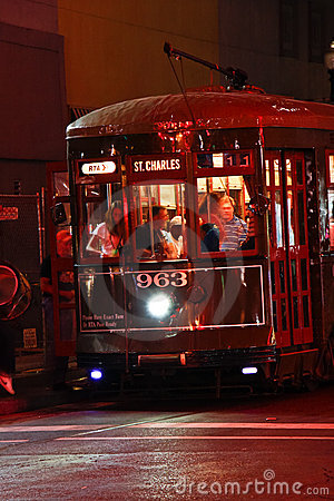 New Orleans St. Charles Street Car at Night Editorial Photography