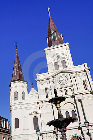 New Orleans St Louis Cathedral and Fountain Editorial Image