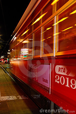 New Orleans Street Car at Night Editorial Stock Photo