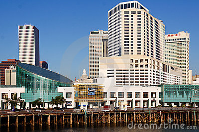 New Orleans - Waterfront Aquarium and Hotels Editorial Stock Photo