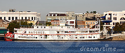 New Orleans Waterfront - Natchez Steamboat Editorial Stock Image