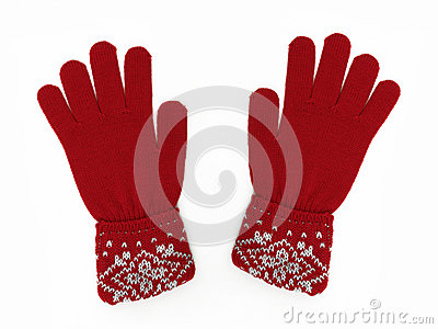 New Pair of Red Knit Gloves with Pattern
