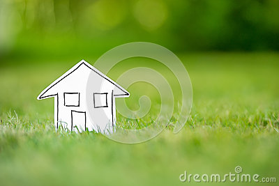 New paper house in grass