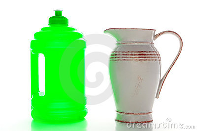 New Plastic Water Bottle and Old Ceramic Pitcher