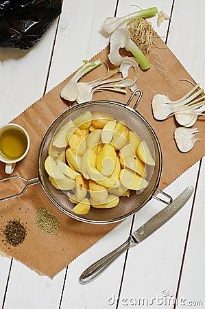 New potatoes and garlic